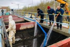 Comenzó la limpieza en la Planta Potabilizadora de Agua de Río Gallegos