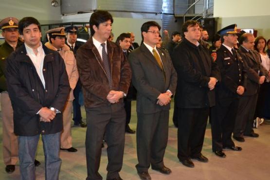 El Intendente Belloni y su Gabinete junto al Subcomisario Hernando