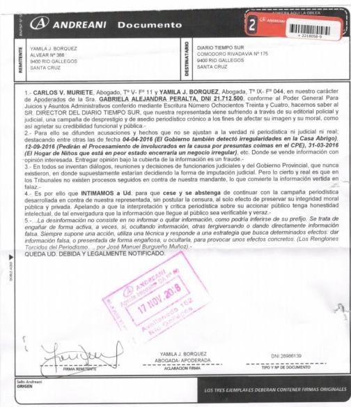 La Diputada Peralta Intimó A Tiemposur Con Un Bozal Legal