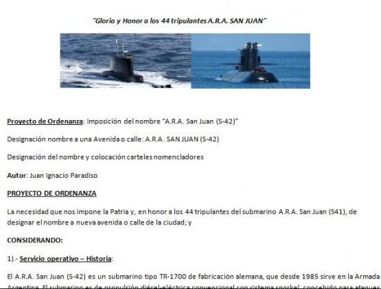 SE PRESENTARÁ PROYECTO DE ORDENANZA PARA DESIGNAR A UNA AVENIDA O CALLE EL NOMBRE A.R.A. SAN JUAN (S-42)